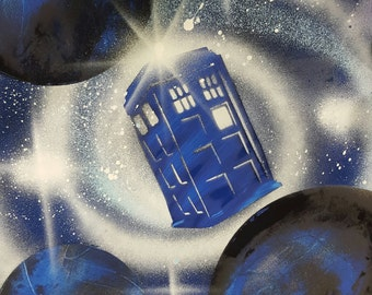 Tardis in space - Doctor Who - Spray Paint Art
