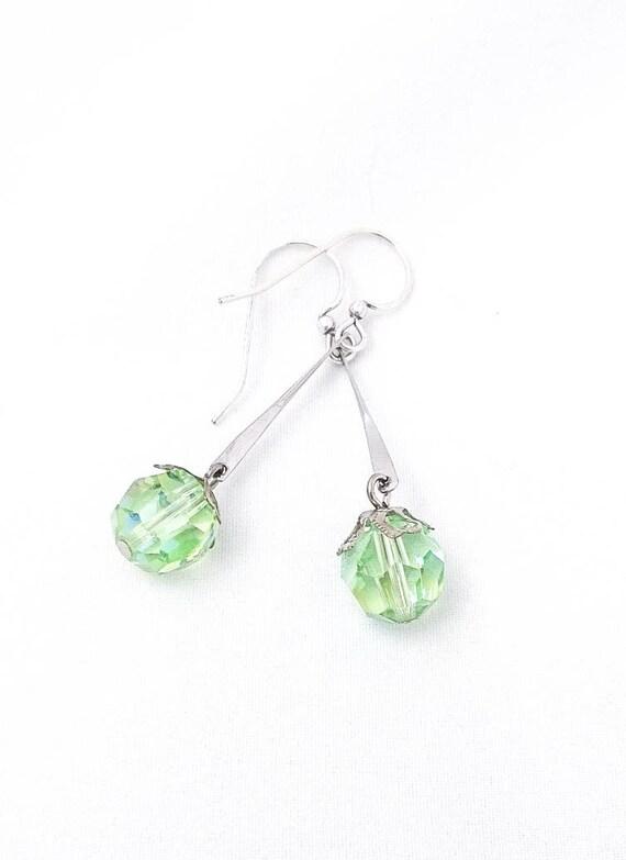 Vintage Silver Dangle Drop earrings with Vintage Green Rhinestone Crystal