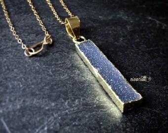 Gray Druzy Bar Necklace / Grey Druzy Bar Geode Layering Necklaces / Raw Crystal Necklace / Bar Necklace / Gift for Her / Bohemian Jewelry