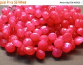 sale AA Hot pink chalcedony gemstone briolette- Faceted chalcedony heart briolettes- set of 20 Pc-10-11.6 mm No. 589
