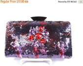 SALE 30% OFF Crystal Bridal Clutch, Purple and Wine Sequin Clutch, Red and Purple Crystal Wedding Purse