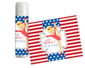 Gymnastic Chapstick Labels - Red White Blue Stars Stripe Girl Gym, Gymnastic Personalized Birthday Lip Gloss Label - Digital Printable File
