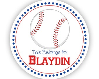 Personalized Name Label Stickers - Blue and Red Sport Baseball Name Tag Stickers - 2 inch Round Sticker Tags - Back to School Name Labels