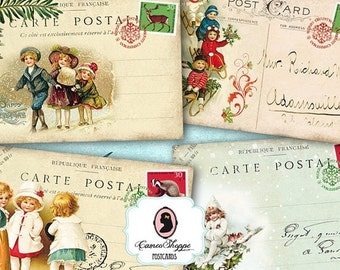 75% OFF SALE CHRISTMAS Greetings Digital Collage Sheet Set of 8 Christmas Postcards Digital Scrapbooking Printable Instant Download