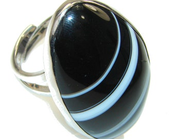 Agate Sterling Silver Ring - weight 21.30g - Size 7 3 4 - dim Dimension:  L -1 5 8, W -1, T -1 2 inch - code 29-lip-15-26
