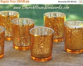 Flash Summer Sale 48 Gold Mercury Glass Votive Holders - Candle Holders for Weddings - Glass Votive Candle Holders - Wedding Decorations