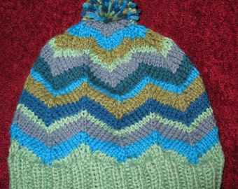 OOAK Knit Wool Beanie - green and blue chevrons - medium (toddler - small child)