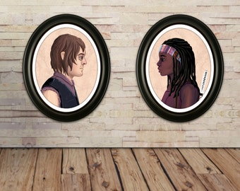 Michonne & Daryl Portrait Art Print Double Pack Sale