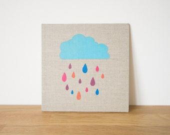 Painting cloud and rain - Acrylic on flax canvas panel - Nursery - Baby or children room - Cute colored painting for kids