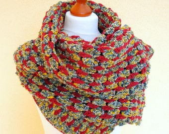 Crochet Scarf / Fall Fashion, multicolor,  shades of yellow, blue, white, red