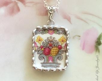 Broken China Jewelry. Broken China Necklace, Pink Grey Yellow Floral, Bavarian China,  Recycled China, Antique China Jewelry