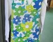 50% OFF SALE Vintage 1960's Groovy Apron Avocado Green and Blue Flowers with Fringe Trim