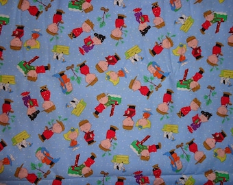 Blue Peanuts Gang Snow/Tree/Mailbox Toss Christmas Cotton Fabric by the Half Yard