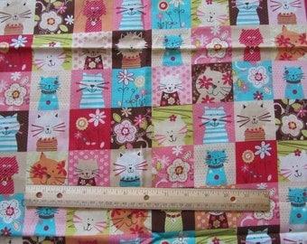 35 Inches Cat/Kitten/Flowered Blocked Cotton Fabric