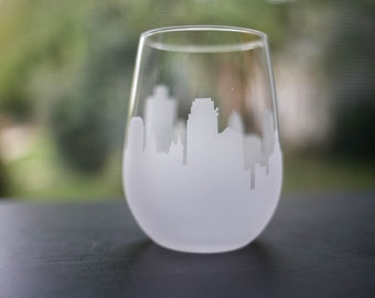 Etched Salt Lake City, Utah Silhouette Wine Glasses or Stemless Wine Glasses