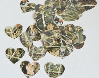 Camo Confetti - Camouflage Heart Confetti - Camouflage Paper Hearts - Table Scatter Camo Hearts - Rustic Country Weddings - 100 Pcs