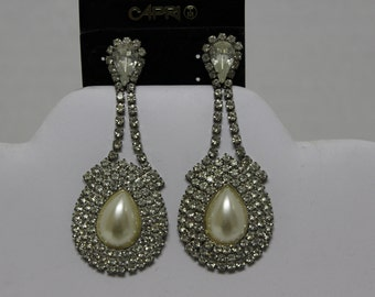 Vintage Tear Drop Chandelier Rhinestone Faux Pearl Wedding Party Capri Earrings