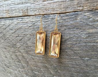 Gold Champagne Crystal Earrings Swarovski Rectangle Dangle on Silver or Gold French Wire Hook