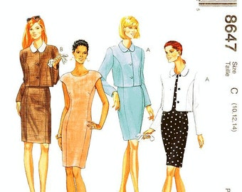 McCall's Dress Pattern 8647 - Misses' Cropped Length Jacket and Sheath Dress  - SZ 10/12/14