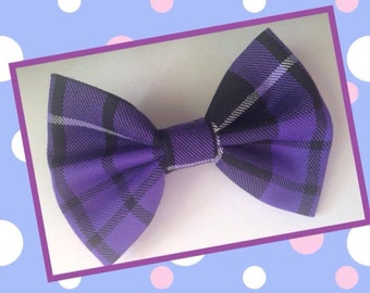 Handmade purple tartan hair bow