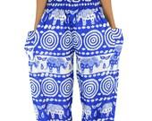 Elephant pants /Hippies pants /Harem pants Yoga pants Comfy pants one size fits Skyblue