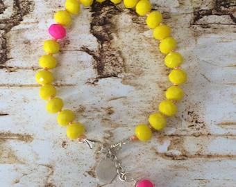 Neon yellow arm candy bracelet