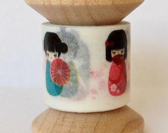 "Washi Tape Mini Spool Single ""Kokeshi Doll"" 2 yards each spool"