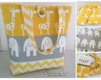 Ultimate Gift Set...Large Diaper Bag/Bib/Burp/Lovey/Change Pad/Clutch...Modern Giraffe.Elephant/Chevron...Choose Colors...Personalize Option