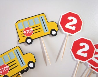 School Bus Party Cupcake Toppers  Wheels on the Bus Birthday School Bus Stop Sign with Number by FeistyFarmersWife