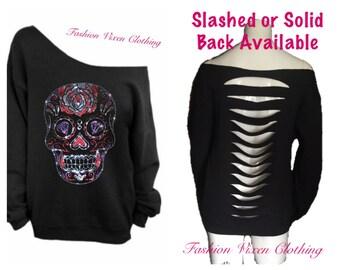 Rhinestud Sugar Skull Off the Shoulder Black Sweatshirt (slashed or solid back) XS S M L XL Plus Size 1x 2x 3x 4x 5x