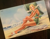 Pin Up Girl, Vintage Postcard, c 1940, Pretty Blond, Green Bathing Suit, Green Sun Hat, Postcard Pinup, Femme Fatale, 1940s