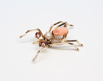 Victorian 14k Gold Insect Brooch with Mexican Opal, Pearl, and Garnets - Outstanding Craftsmanship