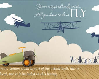 Airplane Wall Decal   Nursery Wall Decal   Flying Wall Decal   Wall Decal    Airplane