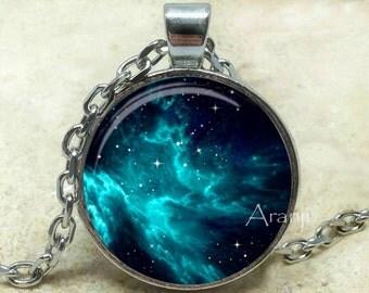 Turquoise nebula art pendant, galaxy necklace, galaxy pendant, galaxy jewelry, nebula necklace, space jewelry, Pendant #SP112P