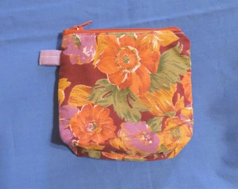 Large Lined Floral Print Coin / Change Purse, Cigarette Case w/ Zipper Closure, Recreated by Carolyn, made from Upcycled/Recycled Materials