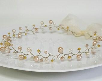 Ivory Bridal Hair Vine,Crystals Flower Tiara,Gold Pearls Headpiece,Hair Accessories,Wedding Headband,Bridal Crown,Halo Bride by CyShell