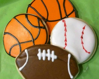 One dozen Sports Cookies - Baseball Cookies - Basketball Cookies - Volleyball Cookies - Sports party - Basketball party - Sports Theme