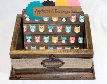 RECIPE BOX, Dividers, Recipe Cards, Wooden Recipe Box, Owl Dividers, Rustic Recipe Box, Owls, Arrows, Teal, Brown, Coral, Mustard, Brown Box