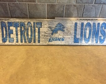 Detroit Lions Reclaimed Wood Sign 24x5