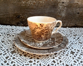 "TEACUP AND PLATE, Dickens 3 Piece Set, Tea Cup and Saucer with Plate, Brown Transferware, ""Covent Garden"", Serving, Tea Cup, Old World,"