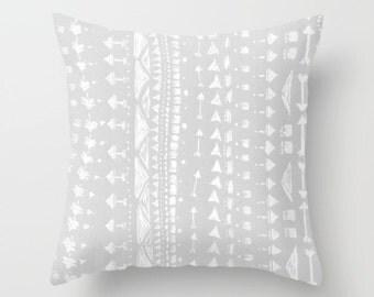 Grey Arrows Throw Pillow Cover, grey arrow pillow, arrows pillow, gray nursery pillow, grey nursery pillow, gray arrow pillow