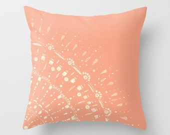 Coral Pink Throw Pillow Cover, pink pillow cover, pink throw pillow, coral throw pillow, salmon throw pillow, coral cushion cover