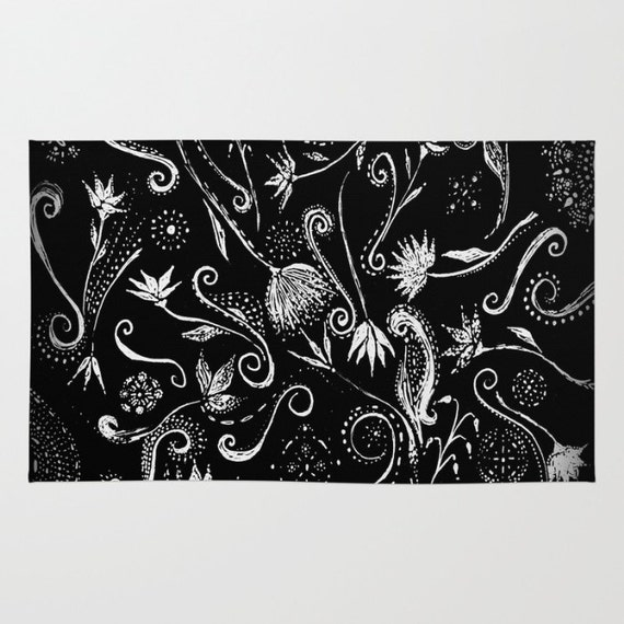 Items Similar To Black White Floral Area Rug 4 39 X6 39 Area