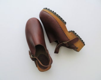 90s Leather Clogs Sling Back ALDO Super Chunky Solid Wood Platforms Women US Size 10 1/2 or Euro 41