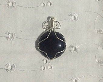 Silverplate Wire Wrapped Onyx Pendant
