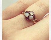 Glorious Antique Victorian 15 ct Opal Moonstone and Ruby Flower ing