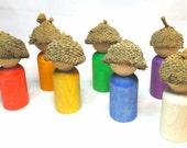 Days of the Week Peg Dolls // Made to Order // PegCorn Peg People // Acorn Capped Peg Dolls // Waldorf Rainbow Gnomes // Wooden Rainbow
