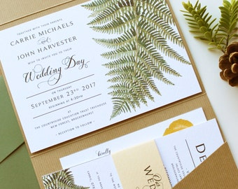 Forest Fern Pocketfold Green & Yellow Wedding Invitation Suite, Set of 5 Inserts: Invite, RSVP, Menu, Details and belly band