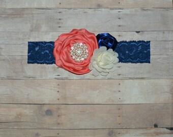 Navy Coral Ivory Lace Flower Headband Baby Toddler Headband Flower Girl Spring Summer