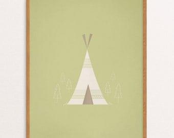 Camping Tent/Teepee Nursery Fine Art Print, 8x10, Whimsical Print